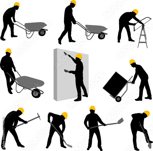 construction workers silhouettes 2 - vector