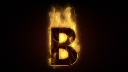 Fiery letter B burning in loop with particles