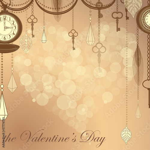 Valentine's card with flare heart and antique clocks and keys