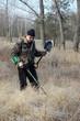 Man with metal detector at winter. Ukraine