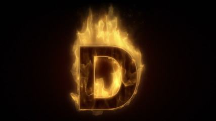 Fiery letter D burning in loop with particles