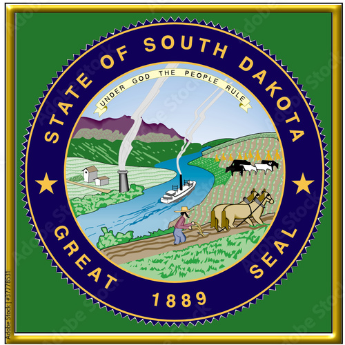 usa states city county south dakota seal coat emblem