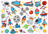 Fototapety Outer Space Doodle Sketch Vector Illustration Set
