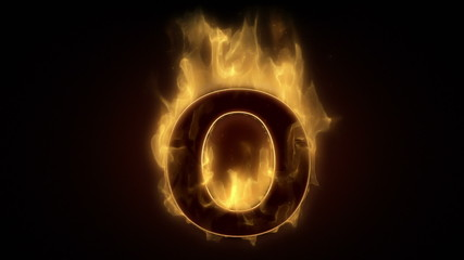 Fiery letter O burning in loop with particles