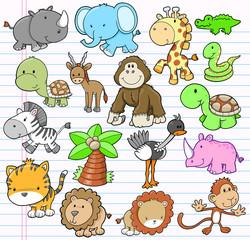 Safari Animal Vector Illustration Set