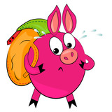 cartoon hiking animal vector illustration.cute pig