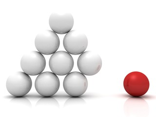 individual red ball as element of business pyramid