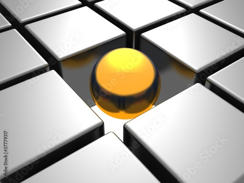 golden individual  ball in others metal chrome cubes