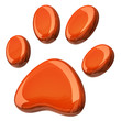 3d illustration of orange paw