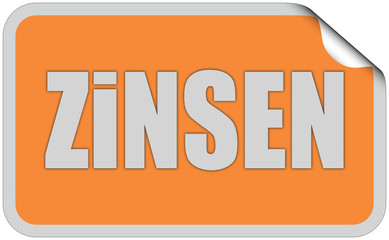 Sticker orange eckig curl oben ZINSEN