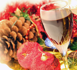 New Year's still life - glasses of wine