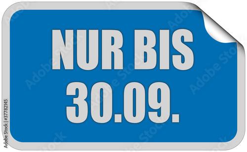 Sticker blau eckig curl oben NUR BIS 30.09.