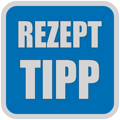 Sticker blau quadrat oc REZEPT TIPP