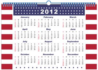 The calendar USA 2012