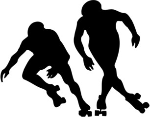 two roller skaters competing
