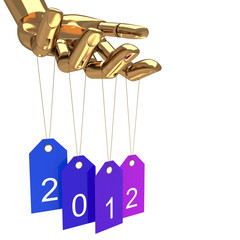 Happy new year tags and gold hand, abstract vector art illustrat