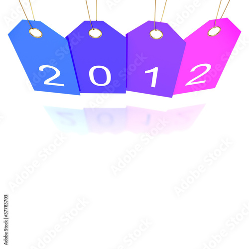 Happy new year tags reflected, abstract vector art illustration