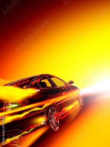 High-speed burning car - 37783976