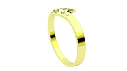 Golden ring with diamonds rotates on white background