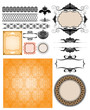 Collection of different ornamented vector design elements.