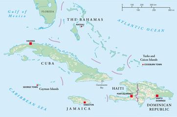 Bahamas, Kuba, Haiti, Jamaika, Dominikanische Republik