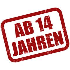 Grunge Stempel rot AB 14 JAHREN
