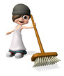 Boy holding broom