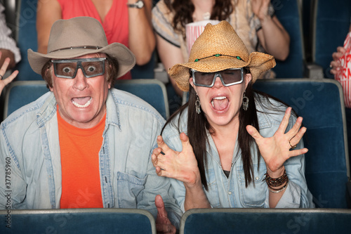 Couple Scream With 3d Glasses