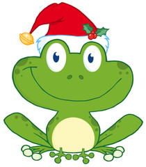 Happy Frog With Santa's Hat