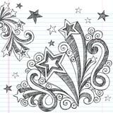 Back to School Sketchy Doodle Stars Vector Design Elements poster