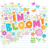 Flowers in Bloom Sketchy Doodles poster