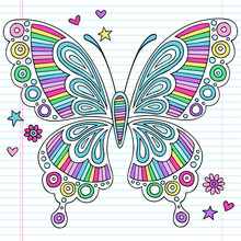 Psychedelic Doodles Rainbow Butterfly Vector