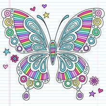 Psychédélique Doodles arc-en-papillon Vecteur