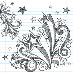 Back to School Sketchy Doodle Stars Vector Design Elements