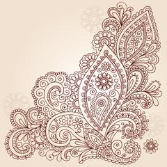 Henna Mehndi Paisley Flower Doodle Vector Design