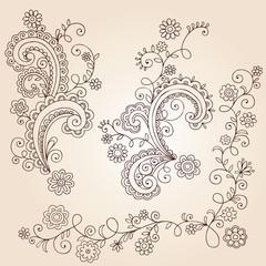 Swirly Henna Doodles Vector Design Elements Set