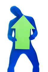 faceless blue man with an arrow pointing up