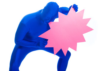 Blue Man with a pink blank advertisement sign
