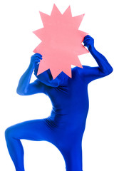 Faceless man with no identity holding a blank pink sign.