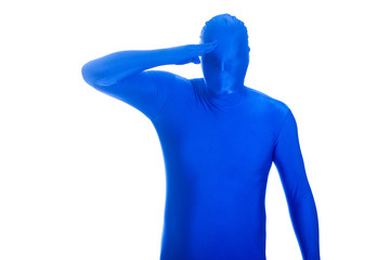 anonymous blue man with no face saluting.