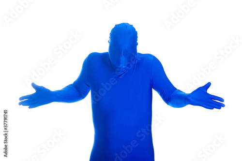 Faceless Blue Man shrugging his shoulders