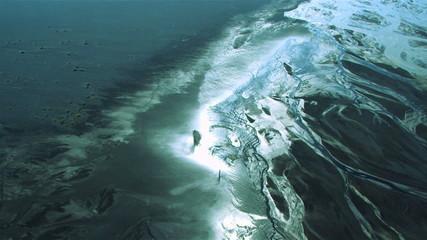 Aerial View of Glacial Meltwater in River Deltas, Arctic Region