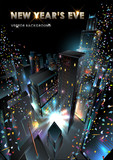New Years Eve in Downtown. Vector Illustration. poster