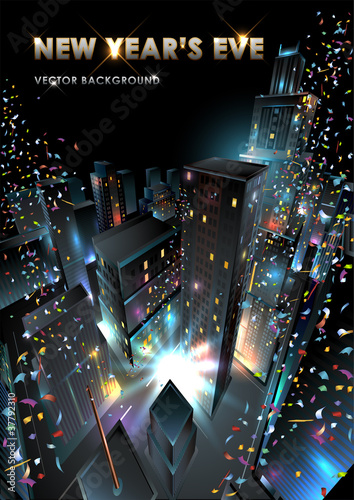 New Years Eve in Downtown. Vector Illustration.