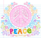 Peace Sign Flowers Sketchy Doodle Vector Illustation poster