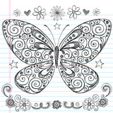 Sketchy Notebook Doodle Butterfly poster