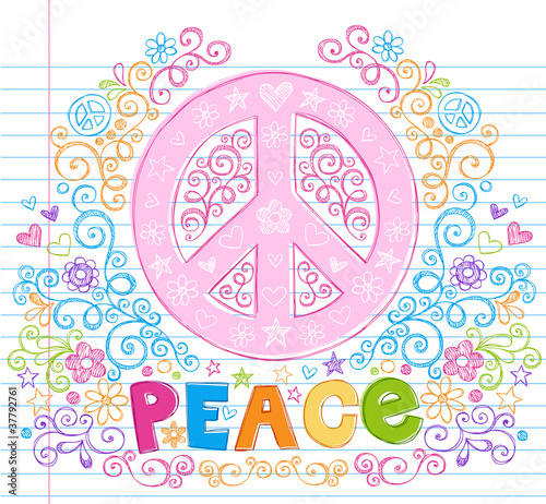 Peace Sign Flowers Sketchy Doodle Vector Illustation