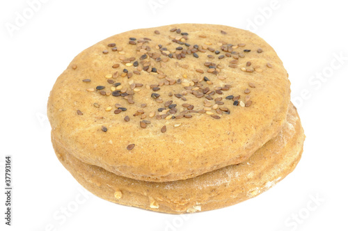 Buns with Sesame Seeds Isolated on White Background