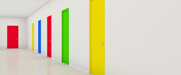 Corridor with color doors