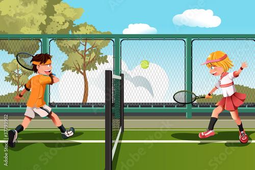 Fototapeta Kids playing tennis
